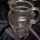 VINTAGE 1950S LAUREL WREATH  PATTERN ETCHED CLEAR GLASS BEVERAGE PITCHER