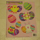 BRAND NEW FESTIVE COLORFUL EASTER BUNNY EGGS STATIC WINDOW CLINGS