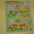 BRAND NEW SPARKLY GLITTER HAPPY EASTER BUNNY EGGS STATIC WINDOW CLINGS