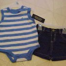 BRAND NEW FADED GLORY SIZE 3-6 MONTH BLUE & WHITE CREEPER & DENIM SHORTS OUTFIT