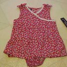 BRAND NEW FADED GLORY GIRLS SIZE 3-6 MONTH RED FLOWERED DRESS & PANTIES OUTFIT