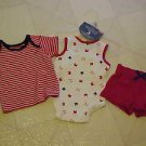 BRAND NEW FADED GLORY NEWBORN PATRIOTIC RED WHITE & BLUE 3 PC SHORTS TOP CREEPER