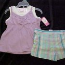 BRAND NEW KIDGETS 2 PIECE GIRLS PURPLE & WHITE TOP AND PLAID SHORTS OUTFIT SZ 3T