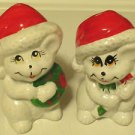 "Brand New Porcelain 3"" Tall Christmas Mouse Mice Salt & Pepper Shakers"