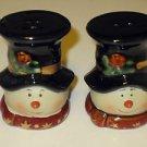 "Brand New Porcelain 3"" Tall Snowman Snow Men Christmas Salt & Pepper Shakers"