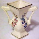 Vintage Porcelain Double Open Handle Four Sided Panel 6-1/2 Inch Tall Vase