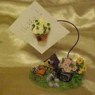 BRAND NEW BIRD HOUSE & FLOWERS NOTE OR RECIPE CARD HOLDER FOR KITCHEN OR DESK