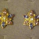VINTAGE CLASSY GOLD TONE BLUE & LAVENDER RHINESTONE STAR SHAPE CLIP EARRINGS