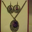 BRAND NEW GOLD PURPLE MEDALLION NECKLACE AND PIERCED EARRINGS JEWELRY SET