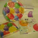 BRAND NEW COLORFUL BALLOONS PAPER PLATES NAPKINS & TABLECOVER PARTY SET