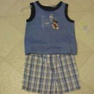 BRAND NEW 3-6 MO DISNEY MICKEY MOUSE SLEEVELESS TOP & PLAID SHORTS