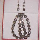 BRAND NEW IN GIFTBOX SINGLE STRAND SILVER CRYSTAL NECKLACE & PIERCED EARRINGS