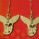 BRAND NEW SILVER TONE GLITTERY ANGEL PIERCED EARRINGS
