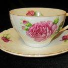 Vintage Mid Century Japan Porcelain Bone China Moss Rose Teacup Cup & Saucer
