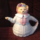 Vintage Porcelain Female Mama Cat in Blue Dress Pink Flowered Hat Teapot Feline