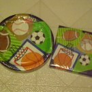 New Party Set Paper Plates Napkins Team Sports Baseball Soccer Football