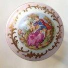 Trinket Box Porcelain Hinged Lid Victorian Lovers Parma by AAI Japan Vintage