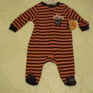 New 0-3 Month Footed Pajamas Baby My First Halloween Orange Black Striped Bat
