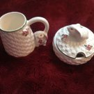 Vintage Avon Bunny Love Basket Weave Creamer Cream Pitcher & Sugar Bowl With Lid