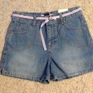 Little Girls Shorts Size 12 Denim Arizona Jeans Pink Wte Striped Belt New W/Tags
