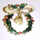 Festive Enameled Gold Tone Christmas Holly & Berry Wreath Pin Brooch