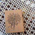 Wood Mounted Rubber Stamp Bridal Flower Rose Bouquet Scrapbooking Art Crafts