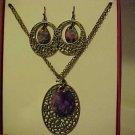New Bpxed Set Necklace & Pierced Earrings Gold Purple Medallion Jewelry Bling