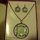 New Boxed Set Necklace & Pierced Earrings Faceted Green Medallion Jewelry