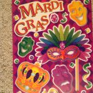 Brand New Mardi Gras Purple Green Masks Crown Jewels Static Window Clings