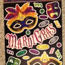 Brand New Mardi Gras Black Purple Green Masks Jewels Static Window Clings