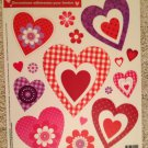 Brand New Valentine's Day Red Pink Purple Gingham Dot Heart Static Window Clings
