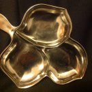 Vintage Mid-Century Silver Overlay 3 Part Divided Leaf Shaped Relish Plate Dish
