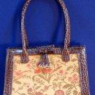 Vintage Purse Handbag Liz Claiborne Tapestry Floral Satin Enterior