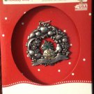 """New Christmas Ornament Bless This Home Fruit Holiday Wreath 2"""" Pewter"""