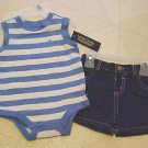 New Faded Glory Infant Outfit Size 3-6 Month Blue White Creeper Denim Shorts Set