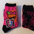 New 2 Pair Ladies Crew Socks Monster High Sz 9-11 Stockings Orange Pink Mattel