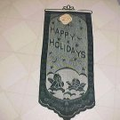 "Brand New Green Lace Cherub Happy Holidays Christmas 11""x26"" Wall Hanging"