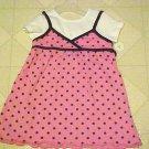 New Toddler Girls Size 3T Pink Brown Polka Dot Jumper Dress & White T-Shirt