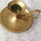 "Candle Holder Chamberstick Brass Taper Etched Design 1-1/4"" Tall"