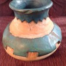 Signed Pottery Vase Decorative Handcrafted Native Inspired Green Indoor Outdoor