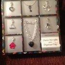 New Silver 7 Charm Bracelet & Organizer Tray Boxed Set Heart Rose Shoe Purse Key