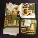 Kitchen Set New 5 Piece Coffee Pattern Dish Cloth Towel Pot Holder Hot Pad