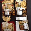 Kitchen Set New 6 Piece Dish Cloth Towel Pot Holder Oven Mitt Italian Chef Wine