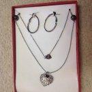 New in Box Silver Tone Crystal Rhinestone Heart Necklace & Hoop Pierced Earrings