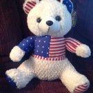 """12"""" ToyMax XYZ Plush Patriotic Teddy Bear Fluffy Soft Toy Stuffed Animal NWT"""