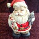 Antiqued Christmas Porcelain Santa Claus Still Bank Teddy Bear Homco #5407