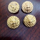 Vintage Set 4 Gold Tone Hidden Tiger Face Ornate Clothing Sew Sewing Buttons