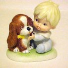 Vintage Porcelain HOMCO Figurine Little Toddler Baby Boy  & Puppy Dog # 1424