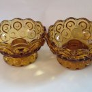 L E Smith Glass Candle Holders Amber Moon and Stars Pattern Pressed Vintage Gold