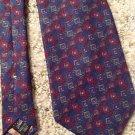 100% Silk Neck Tie Geoffrey Beene Blue Red Green Gold Purple White Italy